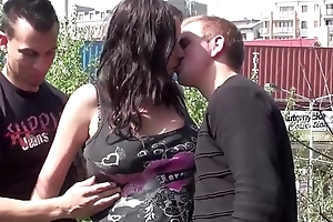Cum on a pregnant girl face in a public street threesome
