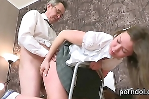 Sensual schoolgirl gets teased and rode by their way senior instructor