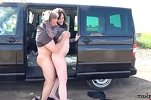 Chubby slut use muscle dude in his car to get cum only &amp_ leave