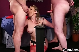 Foxy doll gets sperm load on her face gulping all the jizm