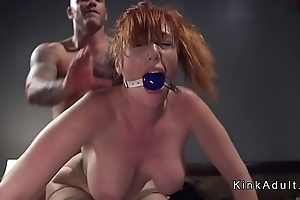 Gagged huge tits redhead anal fucked