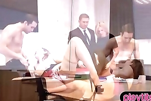 Blonde transcriber in stockings fucked hard in the office