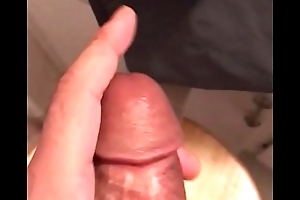 Horny shiny black man's long dick squeeze in the bathroom