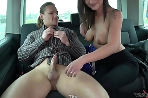 Cleaning cum get off on car is not good idea be beneficial to young brunette