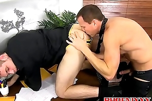 Handsome guy enjoys getting pummeled by his bosses hard cock