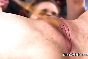 Hairy pussy redhead slave caned