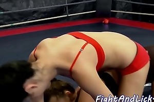 Wrestling lez licks pussy after catfight