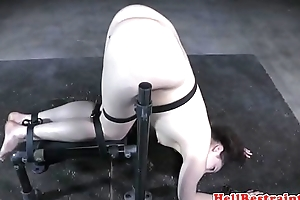 Bound bdsm sub in chains dominated at the end of one's tether maledom