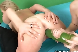 Slim redhead Denisa Heaven fills slut with big dildos