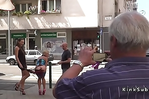 Blonde bare ass whipped in public