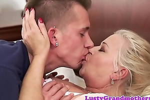 Chubby granny sucks and fucks cock