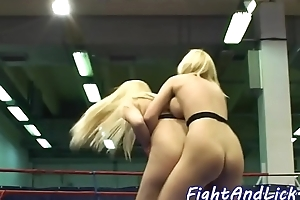 Busty lezzies wrestling and pussylicking