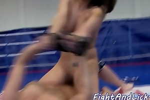 Wrestling dyke rimmed and fingered in ass