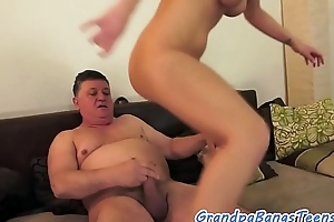 Astonishing eurobabe fucked hard by grandpa