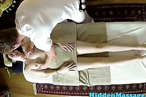 Cute babe gets piercedpussy fucked by masseur