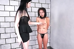Teen slaves latina BDSM added to femdom submissives electro tortured punishment by st