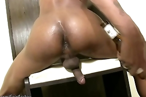 Petite ladyboy shoves beer bottle in tight anal and cumshots