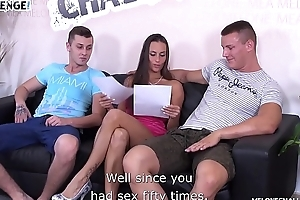 Amateur duo try to fuck pornstar Mea Melone but only one do well