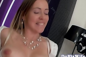 Busty wife dickriding in front of hubby