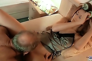 Young Old Porn - Teen Girl Pussy filling old man cock and licking balls