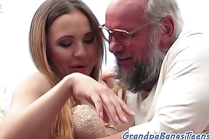 Classy babe banged by grandpa outdoors
