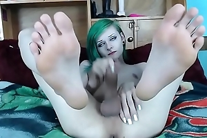 Transgirl shows feet, then cums and eats it.