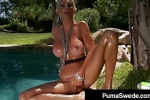 Naughty Euro Queen Puma Swede Squats On Her Dildo Outside!