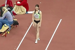 Gorgeous sportswoman from Slovenija enters a long jump competition